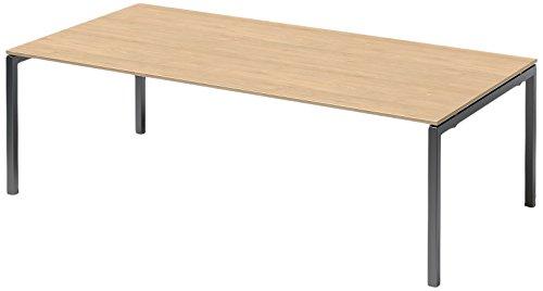 Bisley Cito Chefarbeitsplatz/Konferenztisch, 740 mm Höhenfixes U H 19 x B 2400 x T 1200 mm, Dekor Ahorn, Gestell Anthrazitgrau, Metall, Mp334 Dekor...