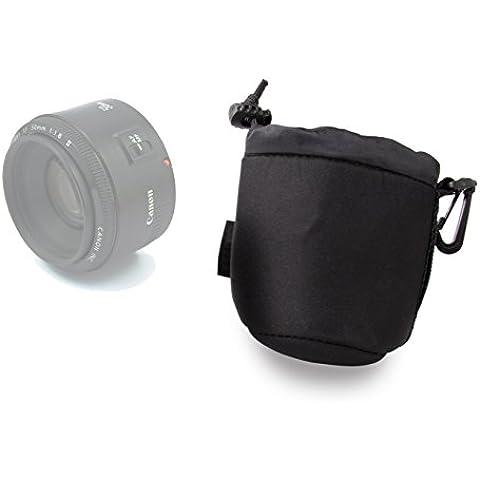 DURAGADGET Bolsa / Funda Para Canon EF 50mm f/1.8 II - Con Cierre Seguro Y Gancho Para Cinturón - Neopreno De Alta Calidad
