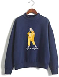 e72d7ca8412a3 SIMYJOY Unisex Sudadera sin Capucha Billie Eilish no Sonrisa Hiphop Street  Fashion Oversized de Estilo Casual