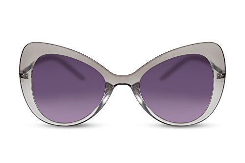 Cheapass Sonnenbrille Damen Schmetterling Transparent Groß-e Gläser XXL Cat-Eye UV-400 Designer-Brille Metall