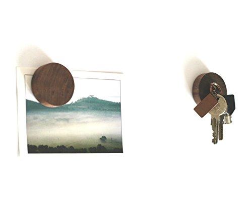 anaan Cimukou Schlüsselhaken selbstklebend 3M Holz Schlüsselhalter Schlüssel Organizer Schlüsselbrett Kühlschrank Magnete Klammerhalter Design (Walnussholz 2er Set) -