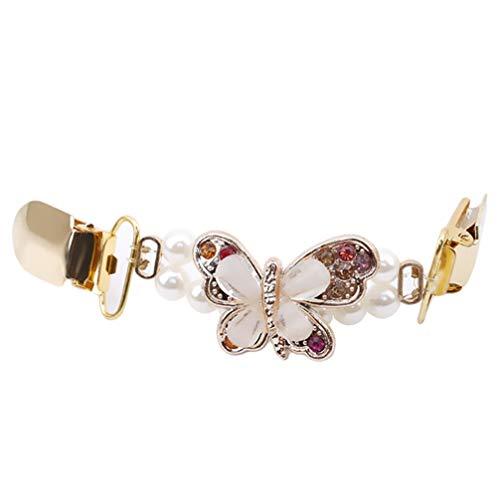 Toporchid Frauen Stilvolle Perle Perlen Pullover Schal Clips Strickjacke Kragen Clip Verschluss Halter (Style3) -