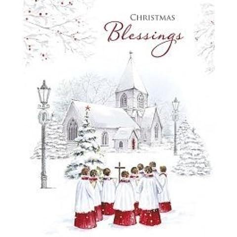 Christmas Blessings-Biglietto natalizio in coro, per bambini, motivo: chiesa