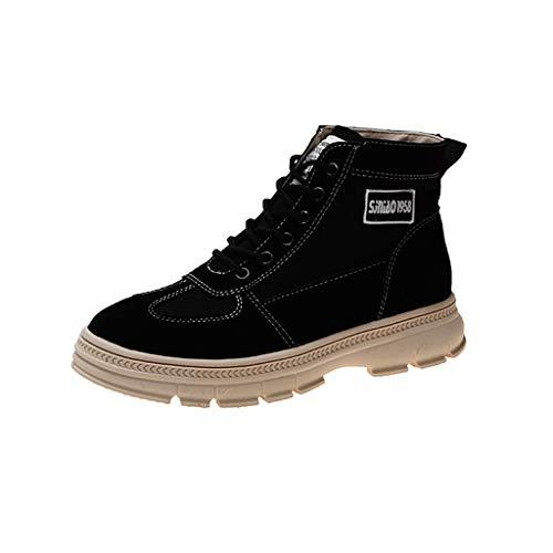 Deloito Damen Retro Chelsea Ankle Boots Britischen Stil Kurze Stiefel Freizeit Atmungsaktive Schnürung Stiefeletten Dicker Flacher Boden Schuhe (Schwarz,36 EU)