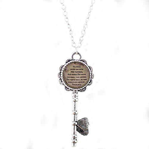 aaaaAA Psalm-Halskette Bibelvers Halskette Schrift Schlüsselkette He Shall Cover You Psalm 914 Under His Wings Refuge Verse