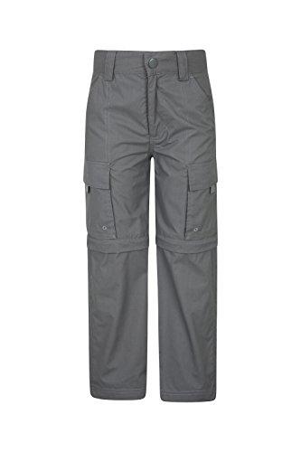 Mountain Warehouse Active Zip-Off-Hose für Kinder - Leichte Kinderhose, Schnelltrocknende Hose, Taschen, Pflegeleichte Freizeithose - Für Camping, Reisen Dunkelgrau 128 (7-8 Jahre)