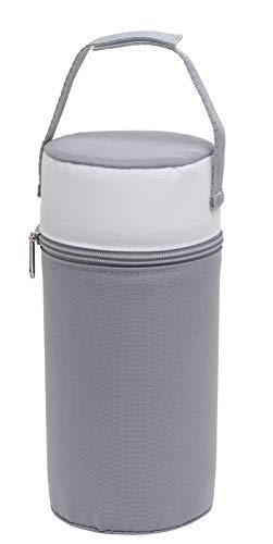 Rotho Babydesign Isolierbox mit Stoffbezug, Für Weithalsflaschen, 10,5 x 10,5 x 22,2 cm, Perlsilber/Weiß, 300650240