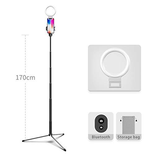 JIAX LED Ringlicht Mit Stativ Und Telefon-Halter for Selfie, Mit 3 Licht-Modi, Tragbares Reise-Dreieck Boden Selfie Stock, Einstellbare Farbtemperatur Warm (Color : Black Style 3)