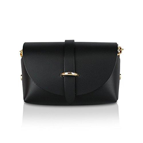 Glamexx24 Damen Clutch echt Leder Tasche Abendtasche mit Kette Handtasche Schultertasche Made in Italy 1.002.2 Schwarz