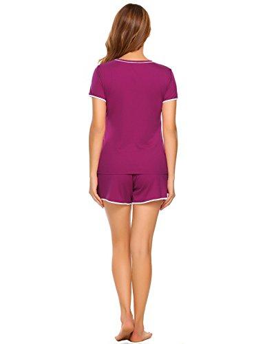 ADOME Damen Schlafanzug Kurzarm Baumwolle Shorty Hose 2tlg Pyjama set Tops Nachtwäsche Shirt Shorts Sommer Nachthemd Schwarz/Grau/Lila S-XXL Lila