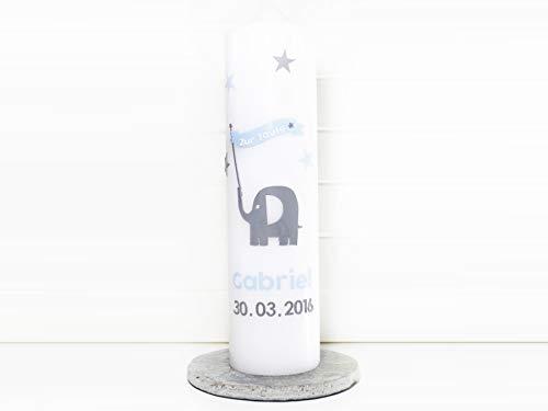 Taufkerze Jungen, Taufe, Elefant, Sterne, Fahne, Kommunionkerze, Kerzen, Wachs, handgemacht, blau, weiß, grau, 275x70mm, made in germany
