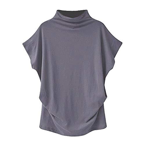 PorLous T-Shirt, Frau 2019 Kurze Ärmel Mode Frauen Rollkragen Kurzarm Baumwolle Solide Casual Bluse Top T-Shirt Elegant Bequem Groß