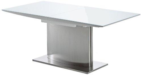 Robas Lund, Tisch, Esszimmertisch, Säulentisch, HELIO, Edelstahl/weiß, 180(240) x 76 x 90 cm, HELIO HW