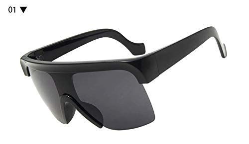 enbrille, Oversized Sunglasses Men Half Frame Sun Glasses For Women Square Big Frame Windproof Shades Oculos UV400 Unisex ()