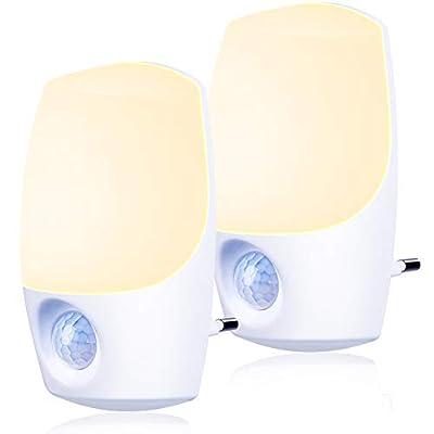 Nachtlicht Steckdose mit Bewegungsmelder und Dämmerungssensor,Emotionlite LED Nachtlicht kind Sehr gut für Kinderzimmer, Treppenaufgang,Schlafzimmer, Küche,Orientierungslicht,WarmWeiß 2700K