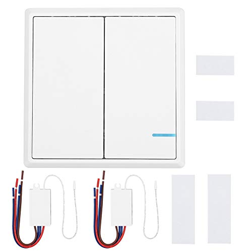 Interruptor inalámbrico - Interruptor remoto inalámbrico de RF (Canal/Interruptor de canal doble/doble)...