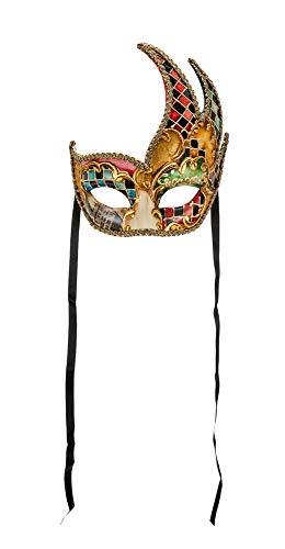 Venezianische Schwanenmaske, handverziert mit mehrfarbigem Aquarell und Blattgoldbesatz. Made In Italy - Schnüre aus Satin.