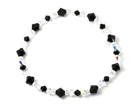 Crystal Bracelet made with Swarovski Elements - Black & Clear AB Crystals in 6mm & 4mm - Includes Gift