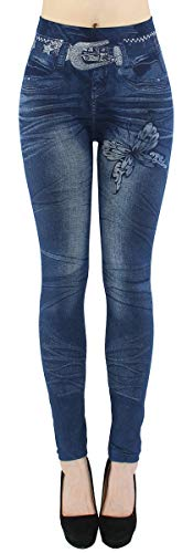 Thermo Leggings Damen Jeggings gefüttert Jeansoptik - WL046 (40/42 - L/XL, WL077-Charming)