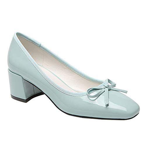 Gtagain Womens Mid Heels Schuhe - Bogen Detail Ohne Verschluss Pumps Quadratischer Kopf Hoher Absatz Geschlossene Zehe Lackleder Pumps Freizeitschuh