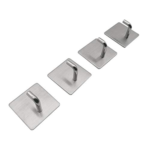 Floweworld 4 Stück Edelstahl Handtuchhaken Schlafzimmer/Bad/Küche Haken Wandkleber Hängehaken - Sechs Lampen Bad Möbel