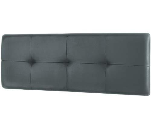 Studio Decor Deva - Cabecero de cama de matrimonio tapizado en polipiel,  Grafito, 160 x 50 x 3,5 cm