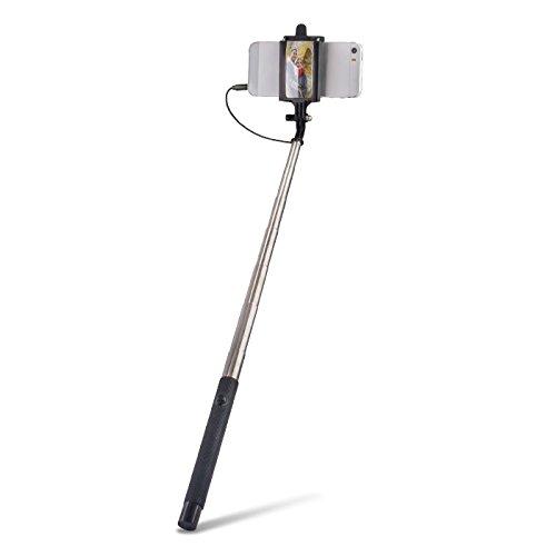 Universale Selfie Stick asta con specchio cavo legato (senza Bluetooth) circa 100cm di lunghezza adatto per tutti i telefoni cellulari, come Samsung Galaxy, iPhone, Huawei, LG, Nero