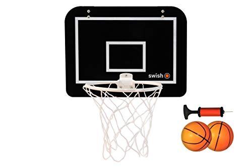 Swish Sports Mini Indoor Basketballkorb inkl. Rückwand, Pumpe und Zwei Gummi-Sprungbälle - geeignet zum Aufhängen über Hause, Büro oder Schlafzimmer