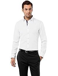 VB Chemise Homme Slim Fit Coupe Cintré Uni avec triplure de contraste Manches Longues Infroissable