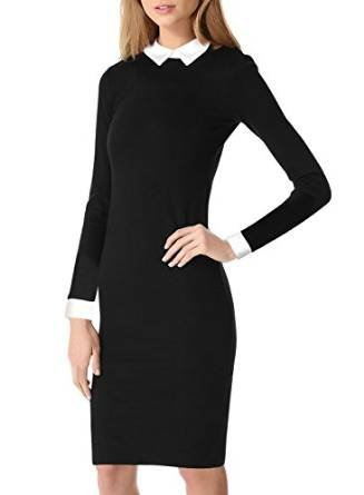 prettyfashion-black-womens-long-sleeve-flared-peter-pan-collar-skater-dress-plus-size-18