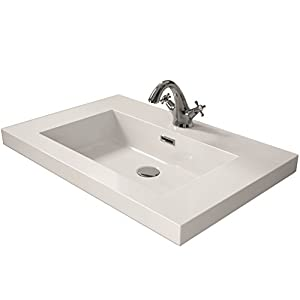 Cygnus Bath 1100120748 Lavabo carga mineral (60 cm), Blanco Brillo