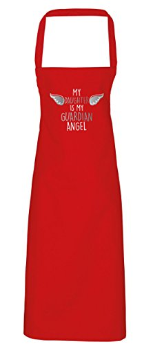 hippowarehouse My Daughter is my guardian angel-heaven Schürze Küche Kochen Malerei DIY Einheitsgröße Erwachsene, rot, (Engel Und Erwachsene Halo Flügel)
