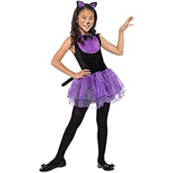 Smiffys 49835M - Disfraz de gato para niña, color negro y morado, talla M de 7 a 9 años