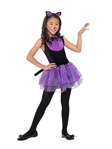 Smiffys 49835L Katzen-Kostüm, für Mädchen, Schwarz und Violett, L-Alter 10-12 Jahre