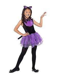 Smiffys 49835L - Disfraz de gato para niña, color negro y morado, talla L, para niños de 10 a 12 años