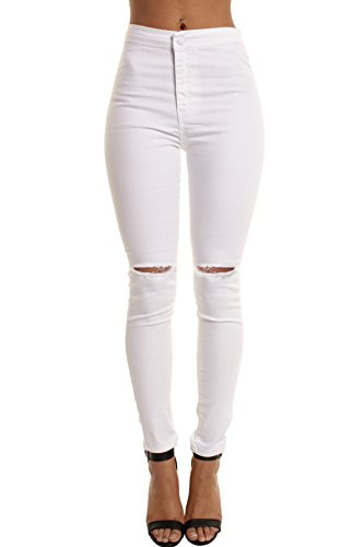 Portobello Punk High Waisted Ripped Knee Skinny Jeans in White | Black | Camouflage | Wine | Shades of Blue