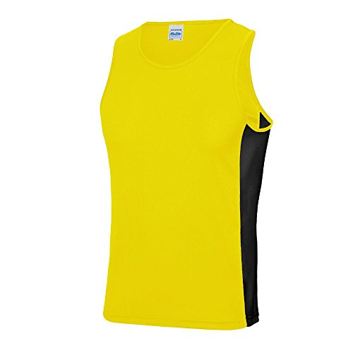 Just Cool Herren Kontrast Tanktop Sun Yellow/Jet Black