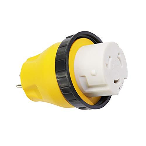 Vosarea Elektrische Verriegelung 15A Stecker auf 50A Buchse 125V RV Adapterstecker (Gelb) 50a Steckdose