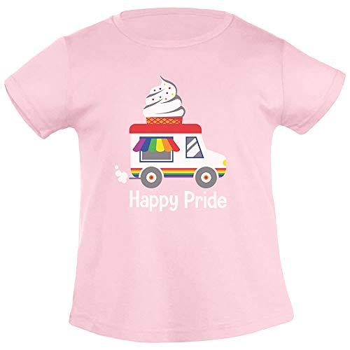 T Shirt per bambina  con fantasia arcobaleno camion dei gelati Pride LGBT