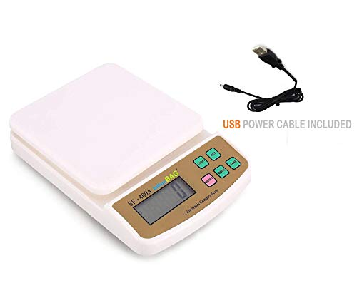 billion BAG Plastic Compact Scale with Backlight SF 400A with Adaptor 10 kg Digital Multi-Purpose Kitchen Weighing Scale (White)