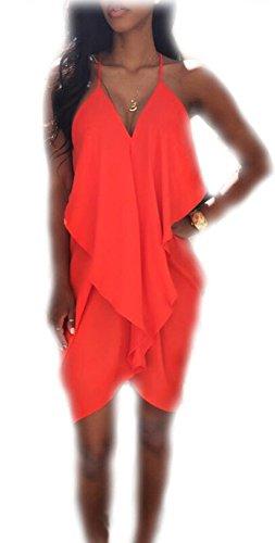 Arrowhunt Damen Einfarbig Neckholder Ärmellos Rückenfrei Minikleid Party Kleid Rot