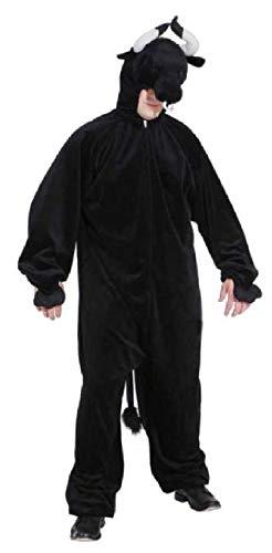 O7303-54-58 schwarz Herren Stier Kostüm Overall - Herren Stier Kostüm