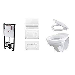 AM101/1120 Alca Plast Wall Mounted Toilet Set with Removable Toilet Seat with Push Plate M1710 / M270 / M370