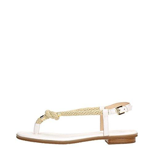Sandalo infradito Michael Kors Holly in pelle bianca e corda Optic White