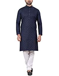 4870e45560e RC Ethnic Denim Cotton Dark Blue   White Full Sleeves Polka Printed Kurta   Pyjama  Set