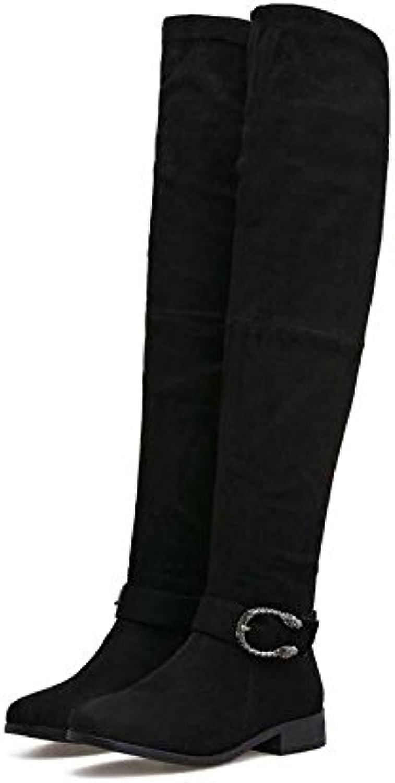 Botas hasta el muslo 2cm Taloneras con cordones Botas elásticas Botas de mujer con punta redonda Atractivas Botas...