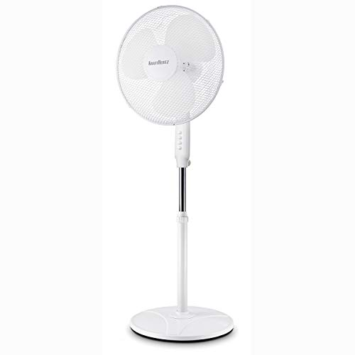 KRAFTHERTZ® - Standventilator 40cm | Ventilator höhenverstellbar bis 127cm | 3 verschiedene Geschwindigkeitsstufen | Oszillationsfunktion ca. 80° | schwerer Stabiler Fuß, kein umkippen