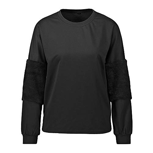 OSYARD Damen Oberseiten Pullover Sweatshirt, Frauen Herbst Winter Tunika Hemd Kleidung Faux Für Patchwork SAMT Top Bluse T-Shirt Rundhalsausschnitt Warme Plüsch Pulli Strickpullover(XL, Schwarz)