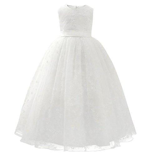 Btruely Mädchen Prinzessin Kleid Baby Kleid Hochzeit Brautjungfern Kleid Formale Abendkleid Blumen Cocktailkleid Ballkleid Blumenkleid Partykleid Tüll Kinder Spitze Kleid (110, Weiß)