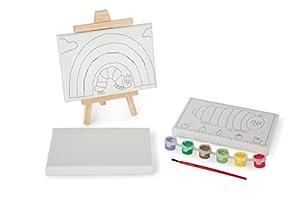 KIDS PREFERRED 10669Veces de Juego para niños con Motivos de La pequeña Oruga, Incluye Plantilla de Tres lienzos (2x, 1x en Blanco), Pincel y Paleta de Colores
